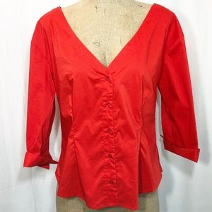 7th Avenue Red Stretch Button Front Blouse